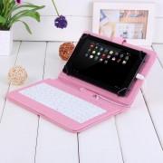 Husa Tableta 7 Inch Cu Tastatura Micro Usb Model X , Roz , Tip Mapa