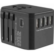 Adaptor incarcator convertor priza universal de calatorie cu 4 x USB si 1 x Type-C All in One pentru EU USA UK negru