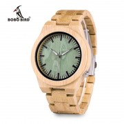 BOBO BIRD M006 Mens Top Brand Design Green Wood Dial Full Bamboo Wooden Quartz Watches Japan 2035 Miyota Movement OEM