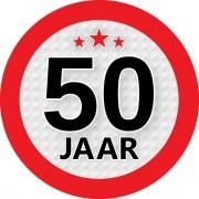 Merkloos 10x stuks ronde 50 jaar feestartikelen stickers van 9 cm