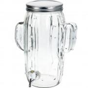 EH Excellent Houseware Dávkovač nápojů KAKTUS, skleněná nádoba s kohoutkem a víkem KAKTUS, zásobník na nápoje, 4 l