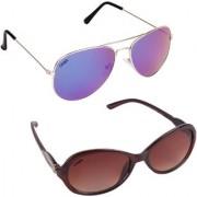 Aligatorr Combo Of 2 Cat Eye Aviator Sunglasses ldy brnslbl merCRLK