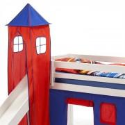 IDIMEX Donjon MAX pour lit surélevé avec toboggan, bleu/rouge