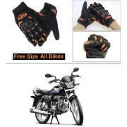 AutoStark Gloves KTM Bike Riding Gloves Orange and Black Riding Gloves Free Size For Hero Splendor Pro