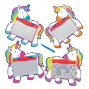 Baker Ross Rainbow Unicorn Magnetic Drawing Boards - 8 Doodle Boards For Kids In 4 Designs. Party Bag Filler Magic Slates. Size 10.5cm x 7.5cm.