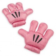 Mickey Minnie Mouse Disney Plush Gloves Hand Mitts Costume Pink Metallic