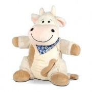 Tiroler Kinder Zirbenkissen Kuh Emma, Kuscheltier, Schlafkissen, maschinenwaschbar, blau, 36 cm