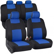 PolyCloth Black/Blue Car Seat Covers - EasyWrap Two-Tone Accent Interior Protection for Auto