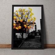 Quadro Decorativo Arvore Guarda Chuva Amarelo 35x25