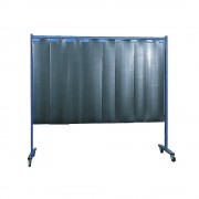 Schweißer-Schutzwand fahrbar 1 teilige Ausführung, HxB 1900 x 2100 mm mit Lamellenvorhang, dunkelgrün