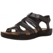Clarks Women's Raspberry Chic Black (Fit D) Leather Fashion Sandals - 5 UK