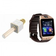 Zemini DZ09 Smartwatch and Q7 Microphone Karrokke and Bluetooth Speaker for LG OPTIMUS L1 II DUAL(DZ09 Smart Watch With 4G Sim Card Memory Card| Q7 Microphone Karrokke and Bluetooth Speaker)