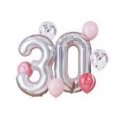 Deguisetoi Kit ballons 30 ans argenté et rose