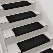 [en.casa]® Lépcsőszőnyeg 15 db-os szett 280 g/m² öntapadós szögletes fekete