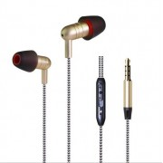 MW-204 Braided Wire-controlled Subwoofer Wired Headphones - Gold