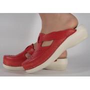 Saboti/Papuci rosii din piele naturala dama/dame/femei (cod 13-7515)