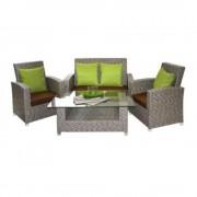Set mobilier, terasa, bar, din ratan, 4 piese, masa, canapea, 2 fotolii, culoare gri, Nice, MN019577, Hascevher