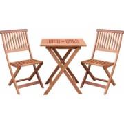Set pliabil masa cu 2 scaune pentru balcon sau gradina Strend Pro Caracas lemn de meranti max.150 Kg maro