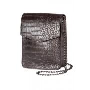 Womens Leather Embossed Croco Bag - Brown