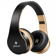 PICUN P16 Foldable Mega Bass Wireless Bluetooth Headphone for iPhone 7 Samsung Note 8 etc. - Black/Gold