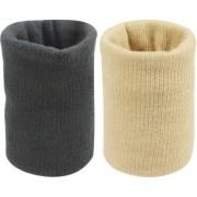 Neska Moda Unisex Black And Beige Pack Of 2 Cotton Wrist Band