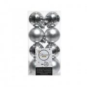 16 onbreekbare kerstballen zilver 4 cm