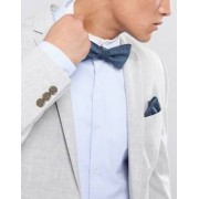 Selected Homme Bow Tie & Pocket Square With Dash Print - Navy
