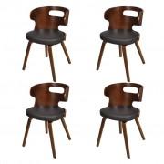vidaXL Трапезни столове, 4 бр, дървена рамка, кафяви