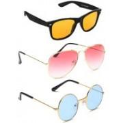 Elligator Aviator, Wayfarer, Round Sunglasses(Yellow, Pink, Blue)
