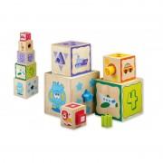 Joueco Jucarie din lemn Cuburi cu sortator de forme