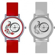 S4 Peacock Red And Blue Colour Round Dial Analog Watches Combo For Girls And Womens