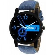 KAYRA FASHION Round Analog Blue Leather Mens Quartz Watch