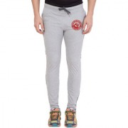 Cliths Grey Red Round Zeep Printed Trackpant for Men