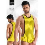 Eros Veneziani Stripe Large Arm Hole Tank Top T Shirt Yellow 7148