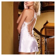 ER Sexy Blue/White Lace One Piece Back Cross Straps See-Through Sexy Sleepwear-white