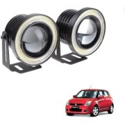 Auto Addict 3.5 High Power Led Projector Fog Light Cob with White Angel Eye Ring 15W Set of 2 For Maruti Suzuki Old Swift