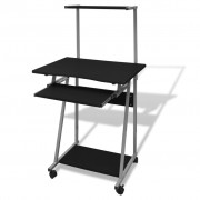 vidaXL Computer Desk With Pull-out Keyboard Tray and Top Shelf Black