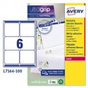> Etichetta adesiva L7166 bianca 100fg A4 99,1x93,1mm (6et/fg) Avery (unit