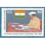 Dr. Rajendra Prasad Birth Centenary. Personality, President of India, Freedom Fighter, Lawyer, Indian National Congress, Flag, Writing, Desk, Cap, Headgear, Centenary 50 P.