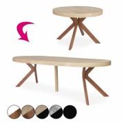 Table ronde à rallonges en bois extensible à 260cm Sonia
