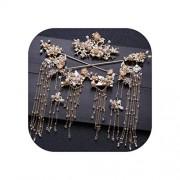 pursuit-of-self Broche tradicional chino para el pelo para mujer, accesorio para el pelo de boda, broche de oro, peine para la cabeza, joya para novia, Ear Pin Earrings Set