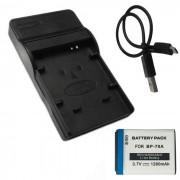 70A bateria 1280mAh + cargador micro USB para Samsung - blanco + negro