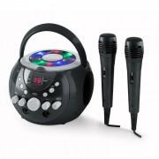 SingSing portable Karaoke-Anlage LED Batteriebetrieb2 x Mikrofon Schwarz