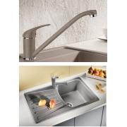 BLANCO DARAS silgránit HD csaptelep - BLANCO NOVA 45 S gránit mosogatótálca szett - kávé