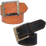 Sunshopping men's black and tan leatherite needle pin point buckle combo(PSD-TB-PRM-3)