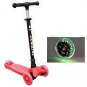 Scooters for Kids, Wide Deck 3 Wheels Scooter 4 Years and Up with T-Bar Handle 110lb Weight Limit Kick Scooter (Red)
