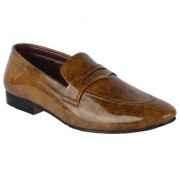 Austrich Mens Brown Patent Loafers