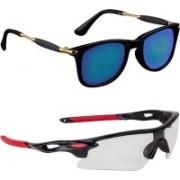 Zyaden Wayfarer, Wrap-around Sunglasses(Black, Clear)