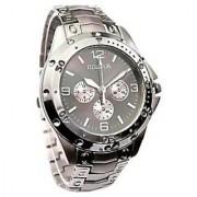Rosra Silver BlackDial Round Dial Metal Strap Mens Quartz Watch 6 month warranty