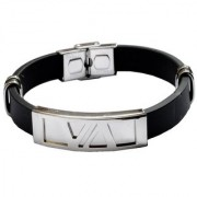 Men Style Classic Geometric Pattern Best Friend SBr005064 Silver and Black Silicone And Stainless Steel Square Bracelet For Men and Women